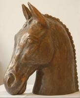 ÉRTÉKES KURIÓZUM! 37cm magas BRONZ LÓ!!! Nagy bronz lófej 19kg-os.