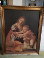 Antik olajnyomat .Giovanni Antonio Boltraffio: Madonna és gyermeke.