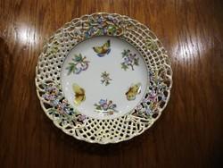Herendi Viktória mintás porcelán áttört fali tányér VBO