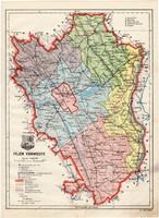 Fejér vármegye térkép 1934, csonka Magyarország, megye, 1930-as évek, régi, atlasz, eredeti