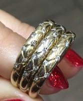 Vastag 3 soros női arany gyűrű, apró kövekkel