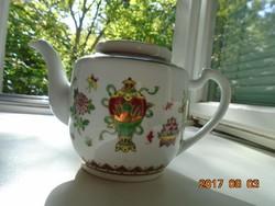 JINGDEZHEN Kézzel festett aranyozott Pillangó,gyümölcs,virág mintákkal díszített kínai tea kiönttő