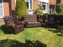 Chesterfield sofa kanape +2 fotel ulogarnitura.Jo allapotu eredeti Angol.
