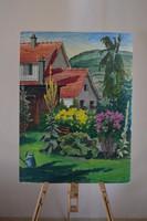 Vidéki ház és udvara Olajfestmény kartonon keret nélkül