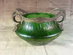 Csodálatos fémszerelékes szecessziós irizáló üveg kínáló 23 cm