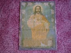 Antik szentkép:  Jézus szíve / nyomat /