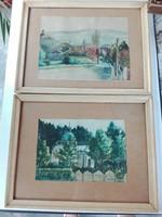 1959-60-as jelzett páros akvarellkép