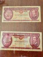 2 db 1984-es száz forintos bankjegy