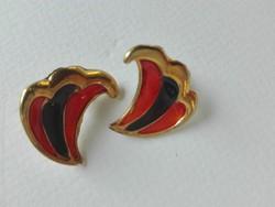 Tűzzománc fülbevaló, vörös és fekete színben