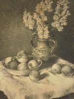 Kiss Terézia (1928-) : Gyümölcsök virággal