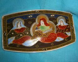 Antik Satsuma Japán porcelán tálka 20,5 X 13 cm