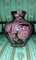 Kincses kerámia mázas festett váza