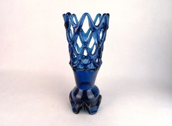 0M754 Régi művészi fújt üveg áttört váza 27 cm