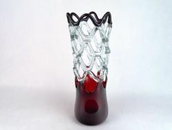 0M755 Régi művészi fújt üveg áttört váza 31 cm