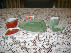 Régi Hollóházi hamutartó szettek meglévő darabjai