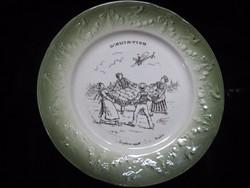 Demi -Poraiceln-Luneville ,antik francia  tányér  vidám  jelenettel