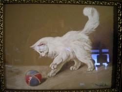 M130 Heyer Artúr Labdával játszó macska , cica