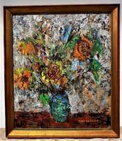 Antal Irén (1903-1999) Csokor c. Képcsarnokos olajfestménye 78x68cm EREDETI GARANCIÁVAL