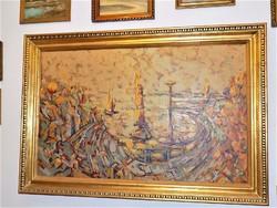 Hatalmas 187x127cm !!! olajfestmény Balatoni kikötő 80-as évek-lásd szignő EREDETI GARANCIÁVAL