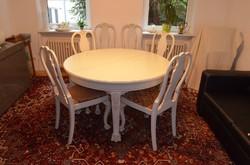 Antik barokk,oroszlánkörmös nagy étkezőasztal 6 székkel 130cm és 250re nagyobbitható