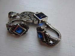 Gyönyörű ezüst szett  kék kő és markazit