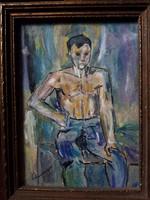 Fiú portré, jelzett festmény