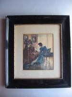Gyönyörű, régi akvarell, szignózott (1915)