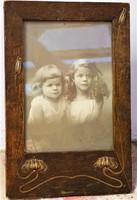 Antik Szecessziós Jugendstil asztali fénykép tartó kívül 21x14cm belső 14x10cm