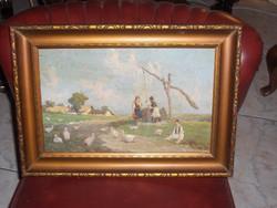 Falusi életkép jelzett festmény