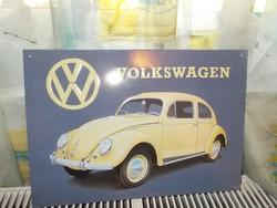 Retró Fém Tábla - Volkswagen VW Bogár, Beetle Reklámtábla