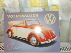 Retró Fém Tábla - Volkswagen VW Bogár, Beetle Reklámtábla (AA-0802)