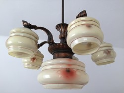 Régi 5 karos 6 burás art deco csillár vintage mennyezeti lámpa