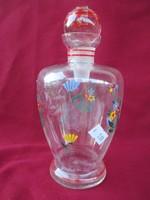 107.  Virág mintás dugós likőrös üveg 15 cm