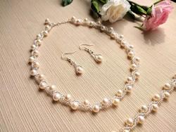 Esküvői ékszer szett - Tenyészett gyöngy karkötő - Édesvízi gyöngy nyaklánc - Ezüst fülbevaló 925