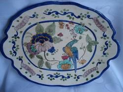 Szignált kézzel festett kerámia falitányér paradicsom madárral