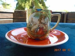 Szecessziós Birodalom alkonya-Angelica Kauffmann-mitológiai jelenet-vaspiros-arany virágok-csésze