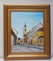 Szentendre utca kortárs festmény csodás képkeretben