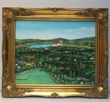 Balaton-Tihanyi apátság -belső tó panoráma festmény