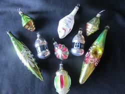RÉGI KARÁCSONY üveg karácsonyfadísz dísz szett KARÁCSONY GYERMEKI NOSZTALGIA RITKA MA MÁR EGYEDI