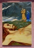 Tragédia a Golgotán, Olaj-vászon festmény Jézussal