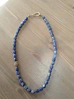 Lápisz Lazuli nyaklánc aranyozott ezüst dísszel, szerelékkel