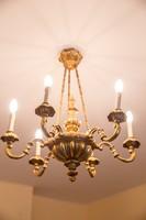 Aranyozott antik fa csillár, hatkarú