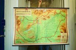 Gyönyörű Magyarország domborzata és vizei falitérkép iskolai térkép vintage loft dekor