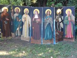Hatalmas Ritka Szentképfestmény sorozat 7db 130X40cm mindegyik festmény!