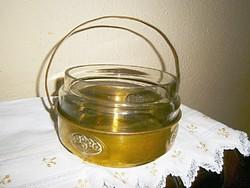 Szecessziós  édességkínáló eredeti üvegbetéttel