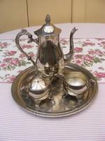 Neobarokk stílusú vastagon ezüstözött 4 részes teás vagy kávés szervírozó készlet
