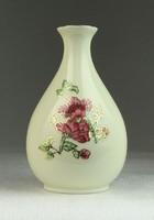 0N645 Zsolnay vajszínű virágos díszváza 11 cm