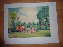 Klaudinyi László: Bükkszentkereszt - Vigasság, 1949 akvarell jelzett