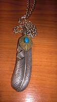Fantasztikusan kidolgozott sterling ezüst kézműves lánc+türkiz köves medál