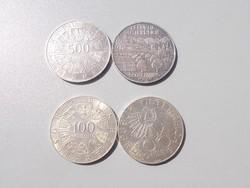 2 db ezüst 500 schillinges 2 db 100 schilling érme egyben